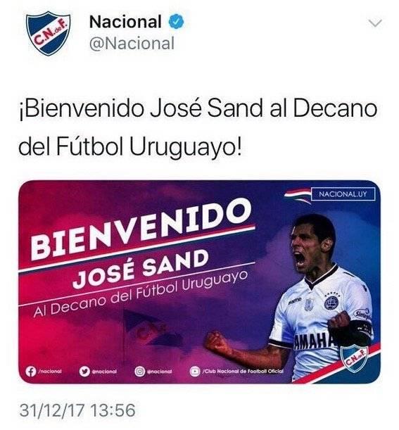 Sand siendo confirmado por Nacional el 31 de diciembre / Foto: Twitter