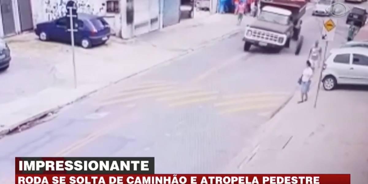 Roda se solta de caminhão e atinge pedestre em São Paulo