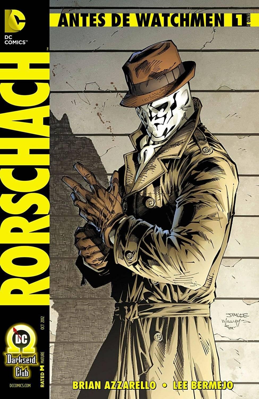 """Tão implacável quanto duvidoso O anti-herói é o mais próximo de um protagonista que """"Watchmen"""" tem. """"Psicopata ou santo?"""", se pergunta Moore nos esboços do personagem. Foi inspirado nos testes de Rorschach e no herói sem rosto. / Reprodução"""