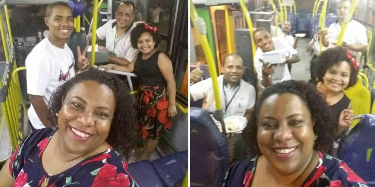 Família passa Ano Novo em ônibus para acompanhar pai que é cobrador