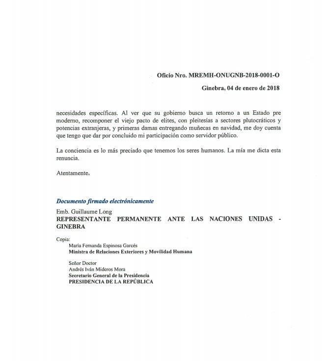 Guillaume Long presentó su renuncia a Lenín Moreno