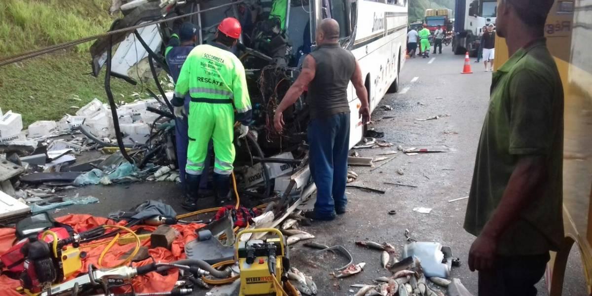 Choque entre ônibus e carreta mata um e fere três na Régis Bittencourt