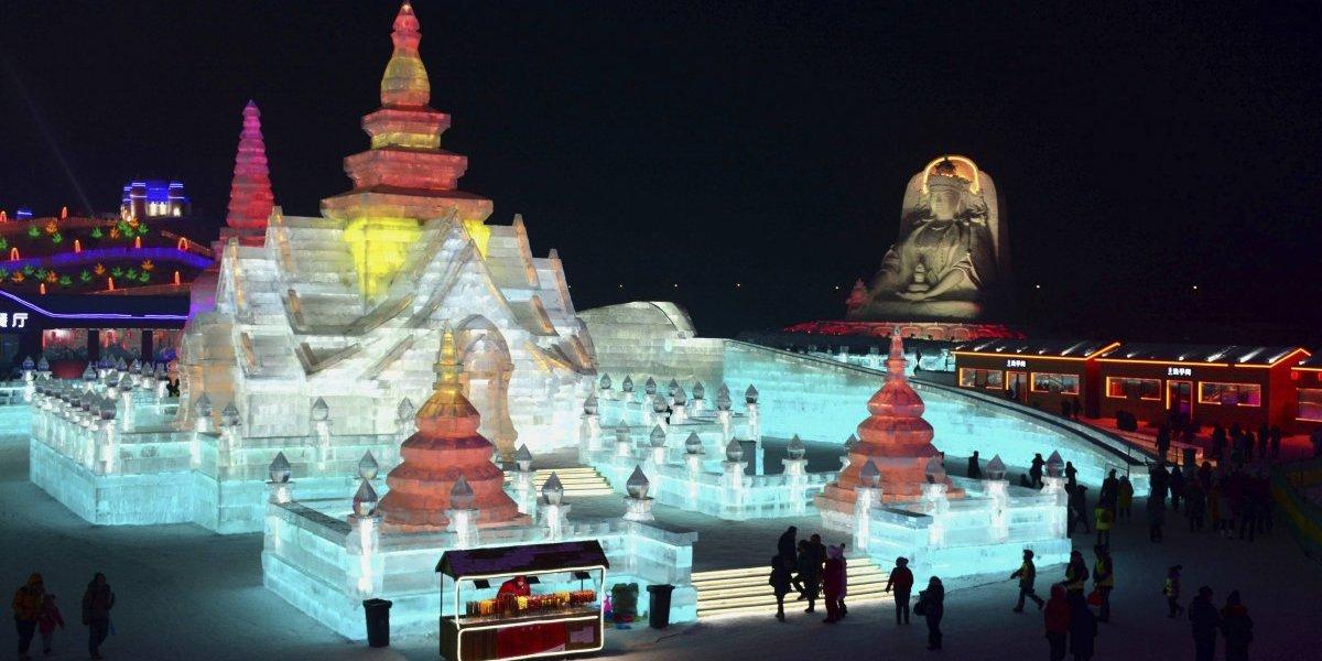 Festival de hielo en China recrea lugares emblemáticos