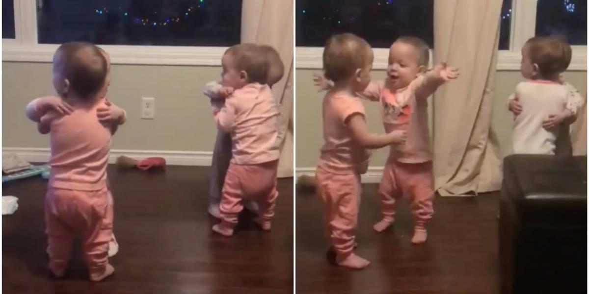 Si no es lo más tierno que viste en 2018 pasa raspando: el adorable video de los abrazos de unas pequeñas cuatrillizas en Año Nuevo