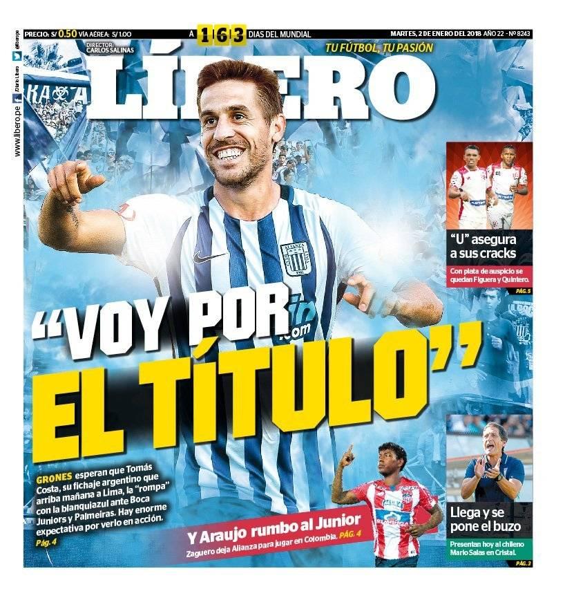 Una portada del medio Líbero con Tomás Costa como protagonista / Foto: @liberope