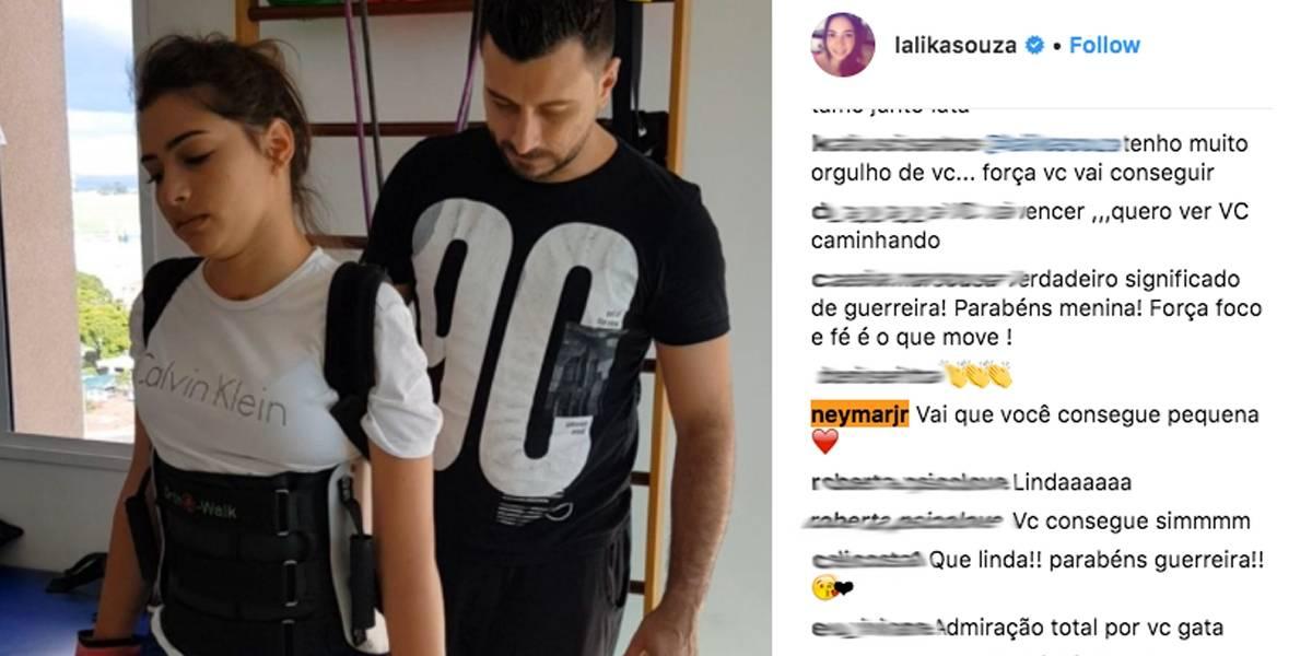 Lais Souza ganha apoio de Neymar: 'Vai que você consegue'