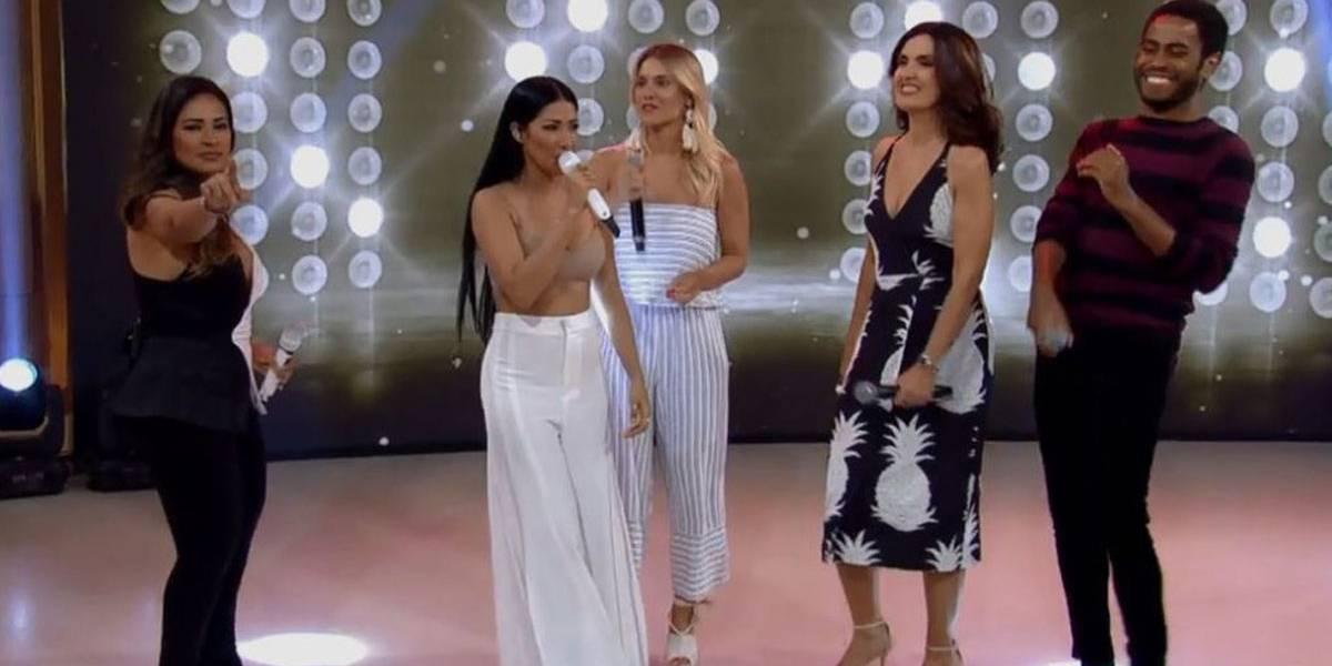 Fátima Bernardes canta Loka com Simone e Simaria e faz sucesso na internet