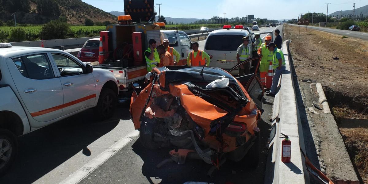 Dos muertos deja choque en Ruta 68: víctimas pertenecían al CDF
