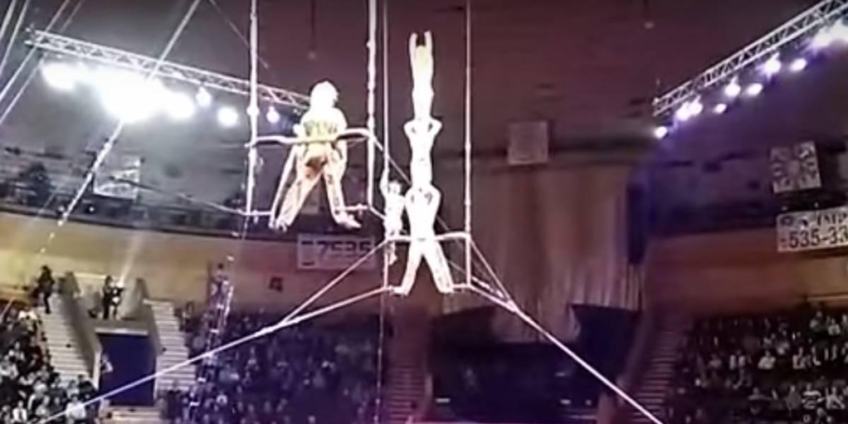 Video: Estremecedor momento en que una acróbata cae durante actuación en circo