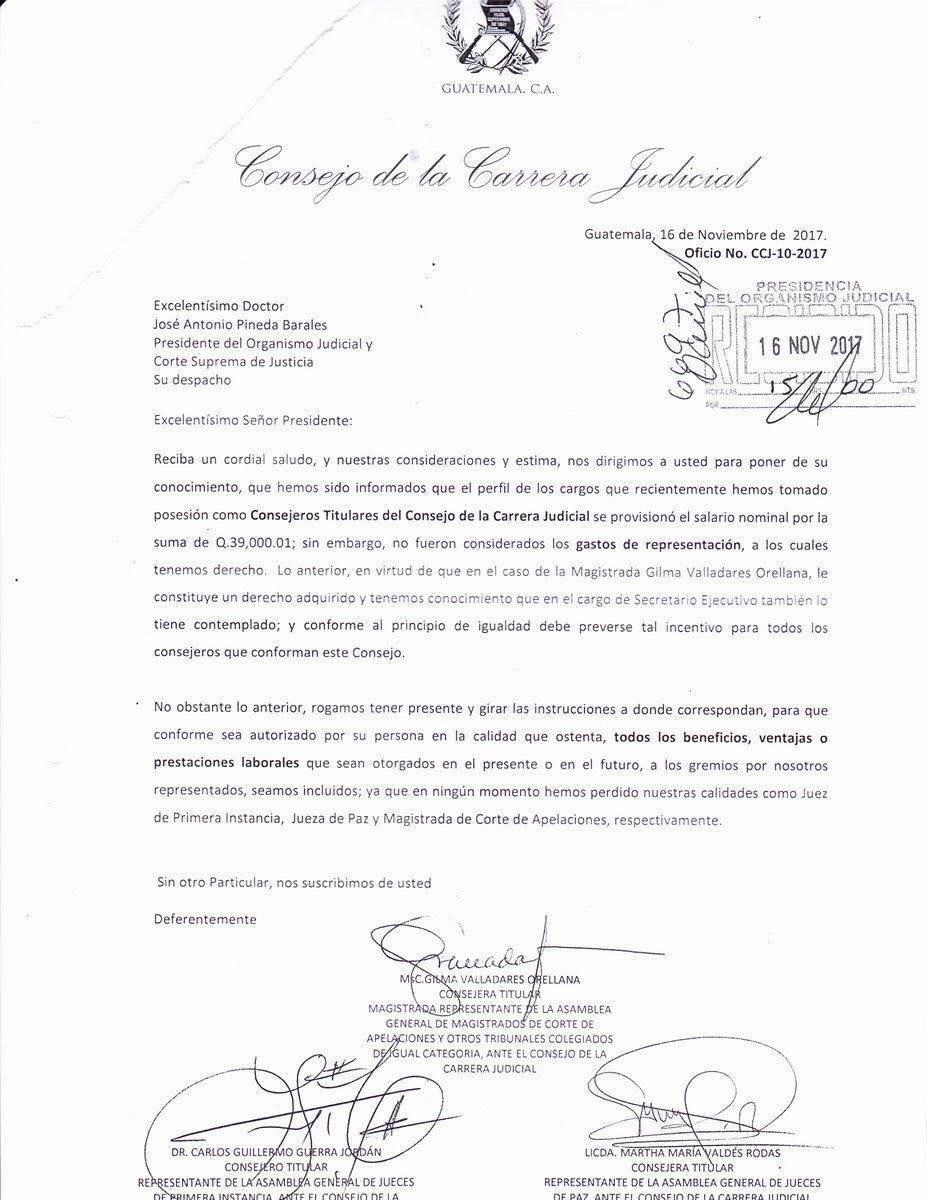 consejo de la carrera judicial pide gastos de representación