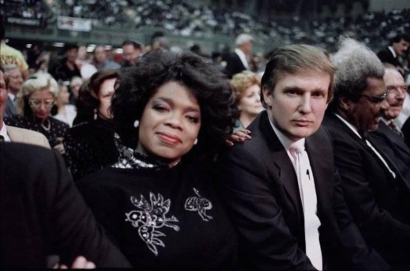 Oprah junto a Donald Trump en Atlantic City, en los años ochenta.