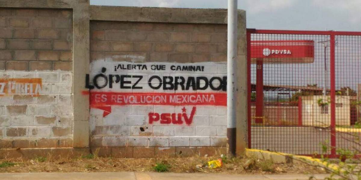 Aparecen pintas en favor de López Obrador en Venezuela