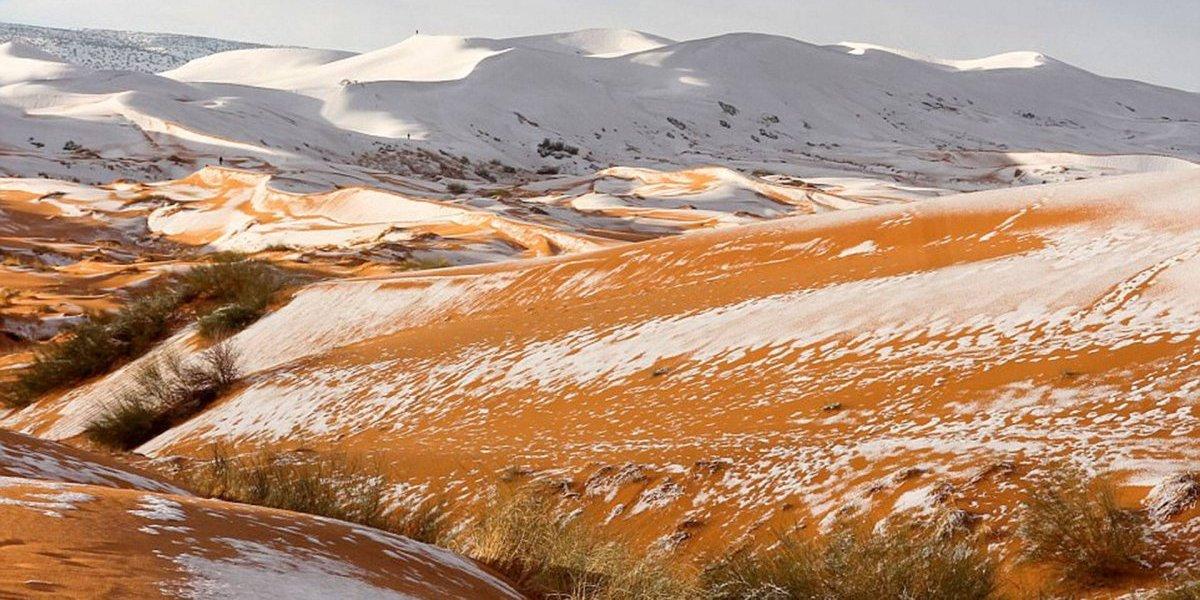 Fotógrafo capta el desierto del Sahara con dunas de nieve