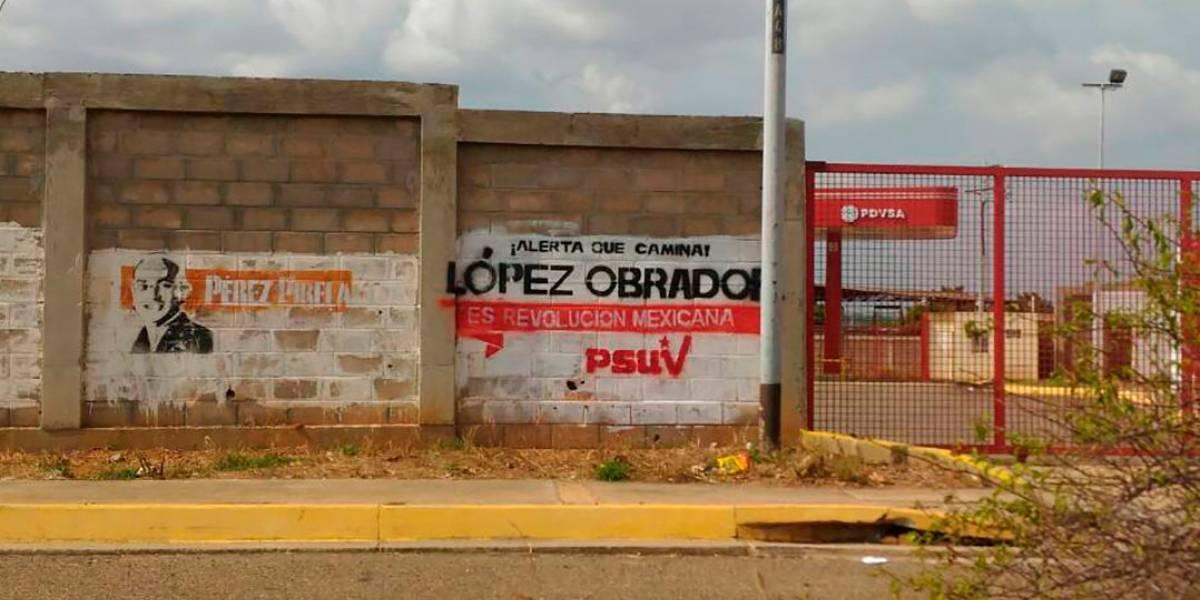 Morena se deslinda de las pintas a favor de AMLO en Venezuela