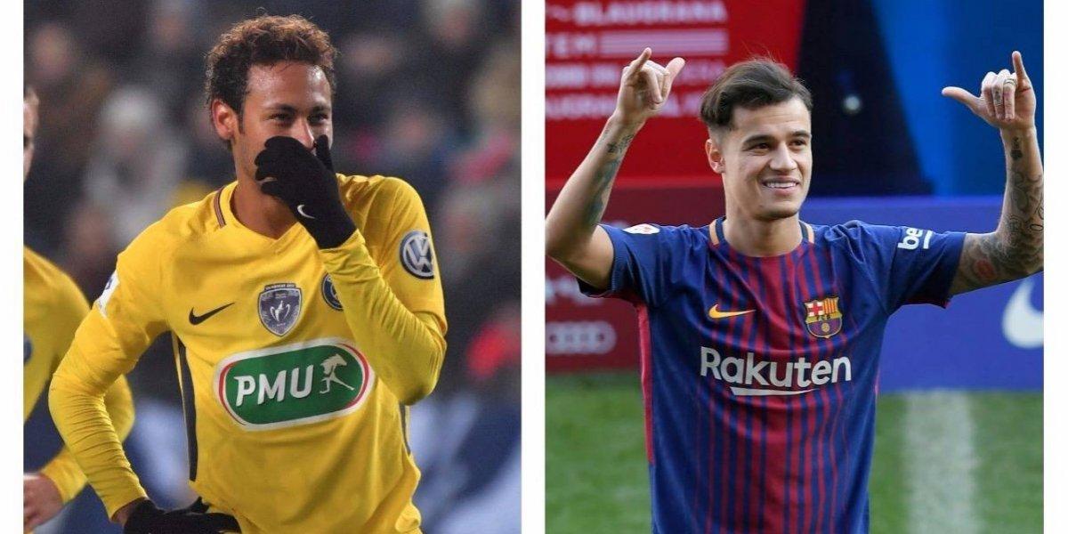 Neymar hace una felicitación burlona a Philippe Coutinho por su llegada al Barça