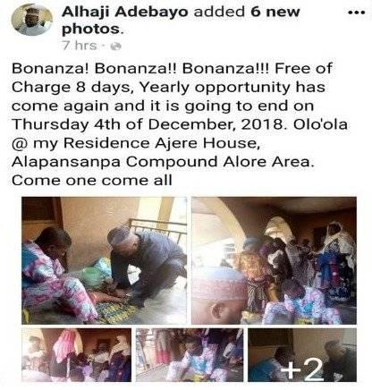 Post de Alhaji Adebayo en Facebook
