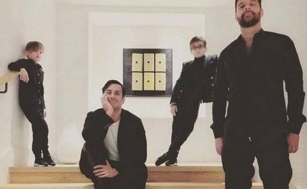 Ricky Martin sus hijos y su pareja Jwan Yosef