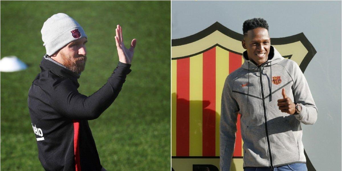 Así recibió Lionel Messi a Yerry Mina en el Barcelona