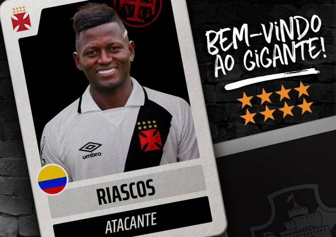 Riascos estava no Millonarios, da Colômbia (Foto: Divulgação/Vasco)