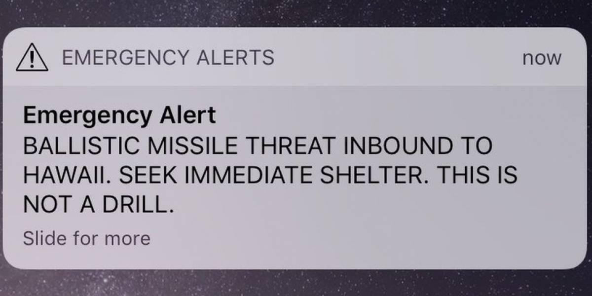 La estremecedora alerta sobre un misil balístico en curso que fue enviada por error en Hawái
