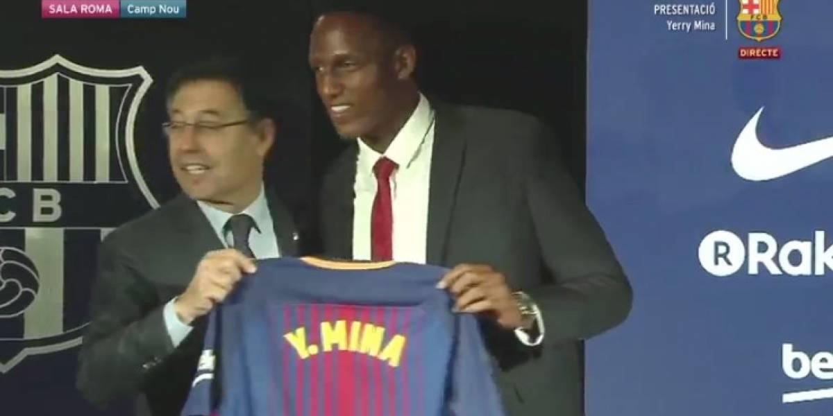 Las 5 frases de Yerry Mina en su presentación con el Barcelona