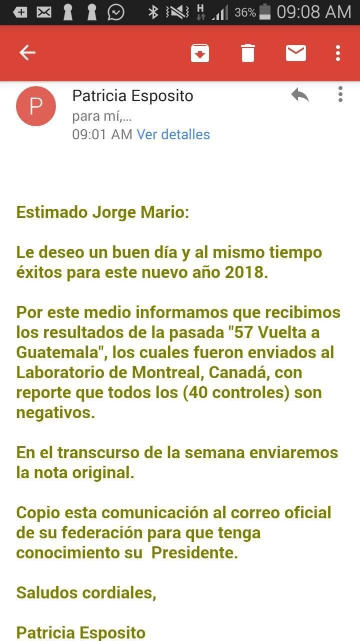 Esta es la notificación que recibió la Federación Guatemalteca de Ciclismo por parte de la ANADO