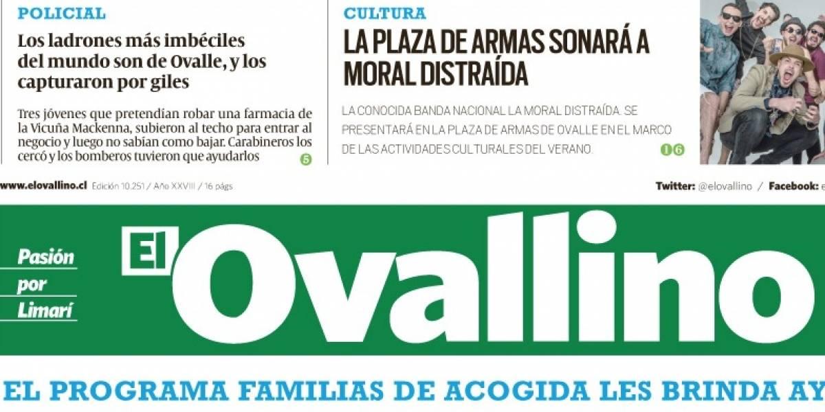 """""""Los ladrones más imbéciles del mundo son de Ovalle y los capturaron por giles"""": la portada más directa del año es chilena"""