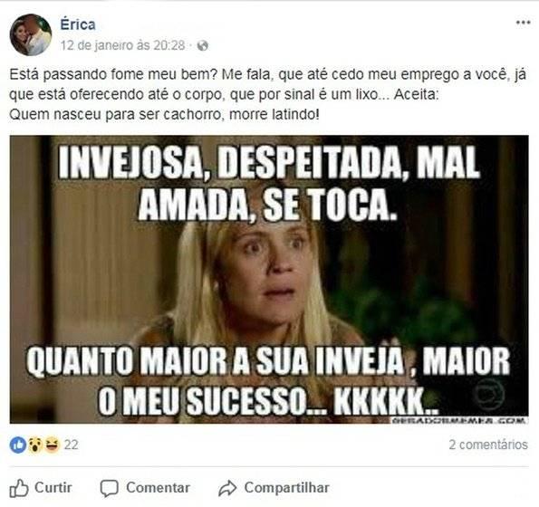 Érica de Oliveira da Silva facebook
