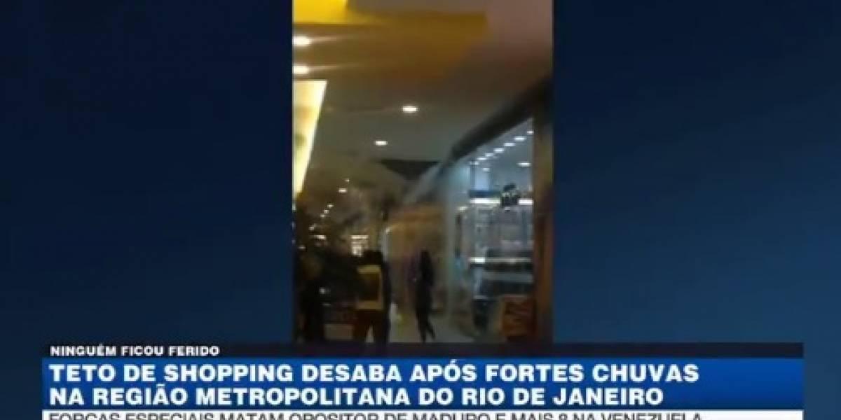 Teto de shopping no Rio desaba após fortes chuvas