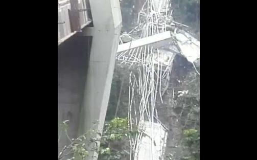 Así fue el momento de la caída del puente en la vía Bogotá – Villavicencio