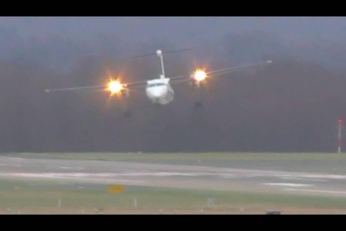 Video: El sorprendente aterrizaje de este avión en medio de huracán que azota a Alemania