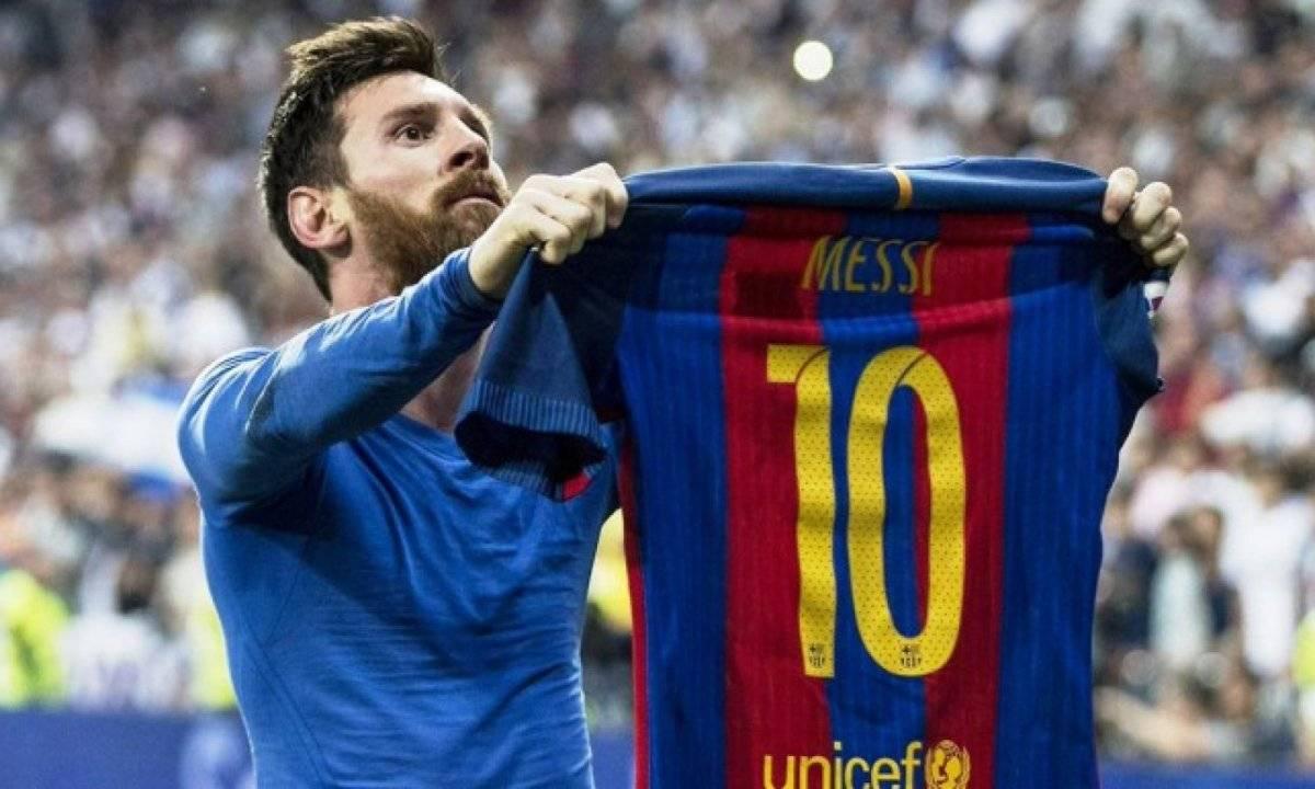 Lionel Messi en su festejo en el Santiago Bernabéu.