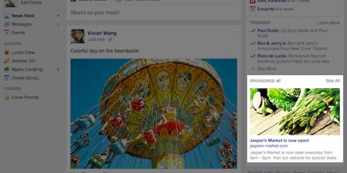 Facebook agranda tamaño de publicidad en su web, pero tendrá menos avisos