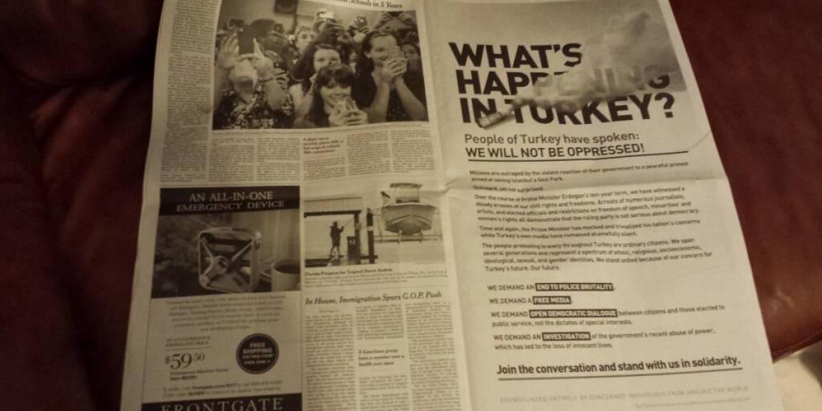Activistas turcos compran aviso en New York Times gracias a exitosa campaña de crowdfunding