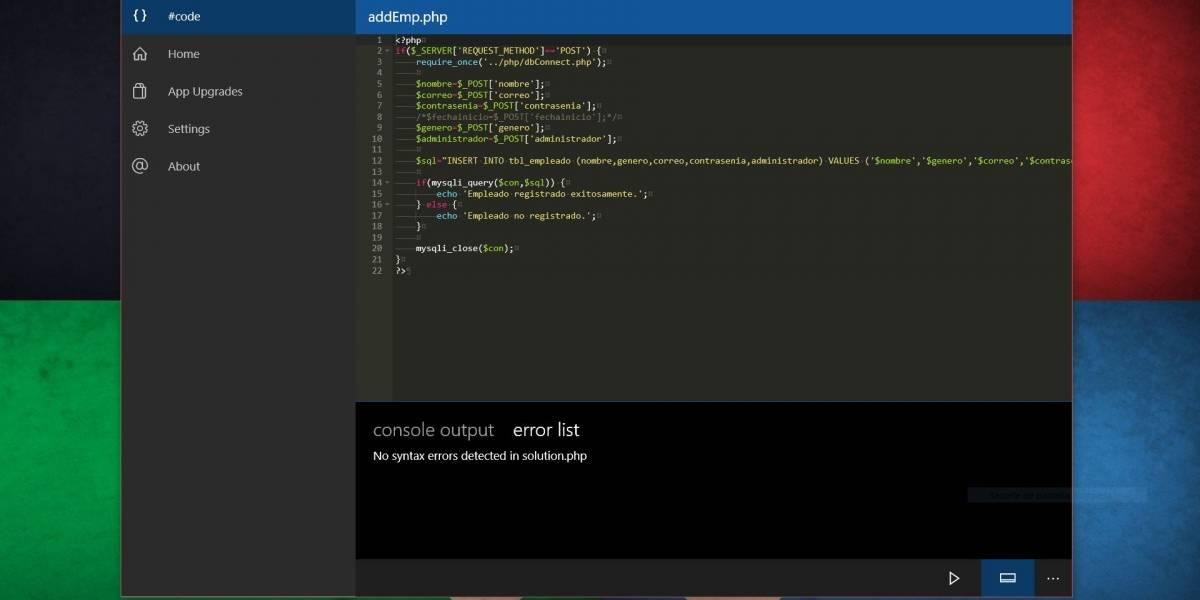 #Code, un ligero compilador cuasi universal para Windows 10