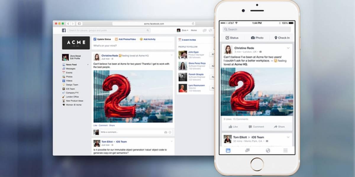 Facebook at Work ya está listo y sería lanzado dentro de unas semanas