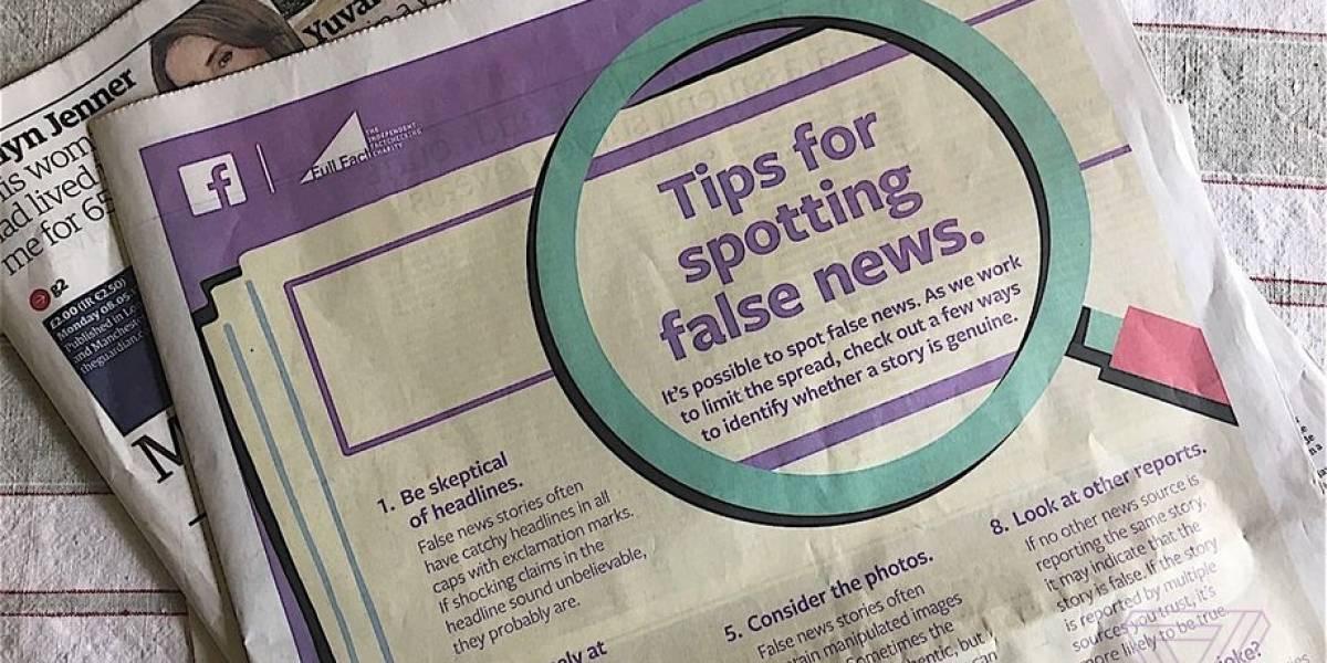 Facebook publica inserto en diarios ingleses para combatir las noticias falsas