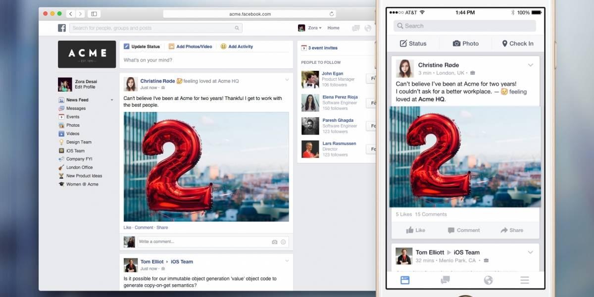 Facebook revela Work, su nuevo servicio de productividad para empresas