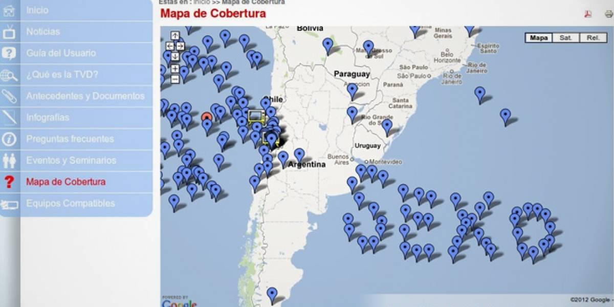 Chile: Juegan broma a la Subtel con mapa de cobertura de TV Digital
