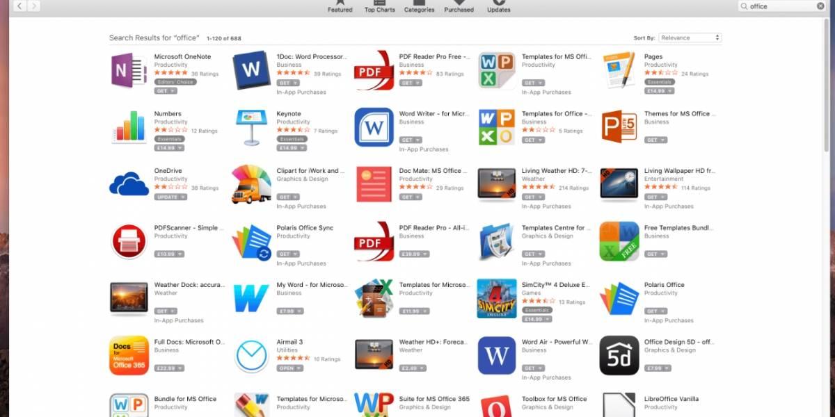 Mac App Store está llena de suites falsas de Microsoft Office