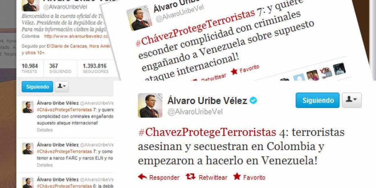 #ChavezCobarde: Ex-presidente colombiano Álvaro Uribe se descarga en Twitter