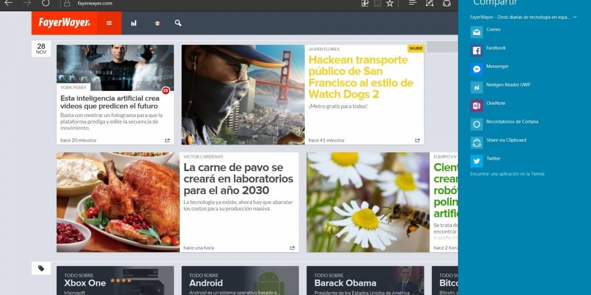 Windows 10 tendrá una nueva interfaz para compartir