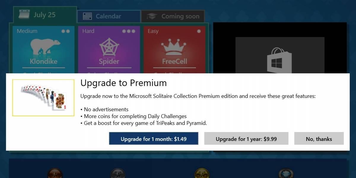 Solitario de Windows 10 es freemium con publicidad y removerla cuesta USD 1,49 mensuales