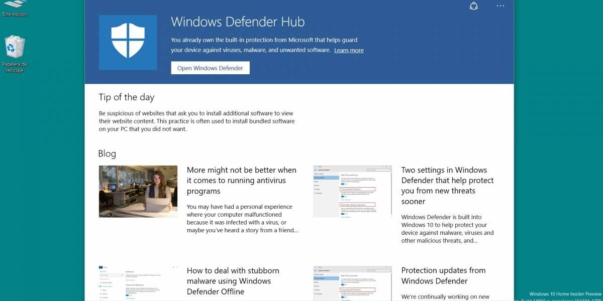 Windows Defender Hub disponible en la Tienda Windows
