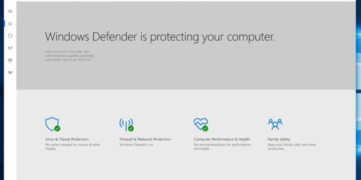 Windows Defender ya disponible como aplicación para Windows 10