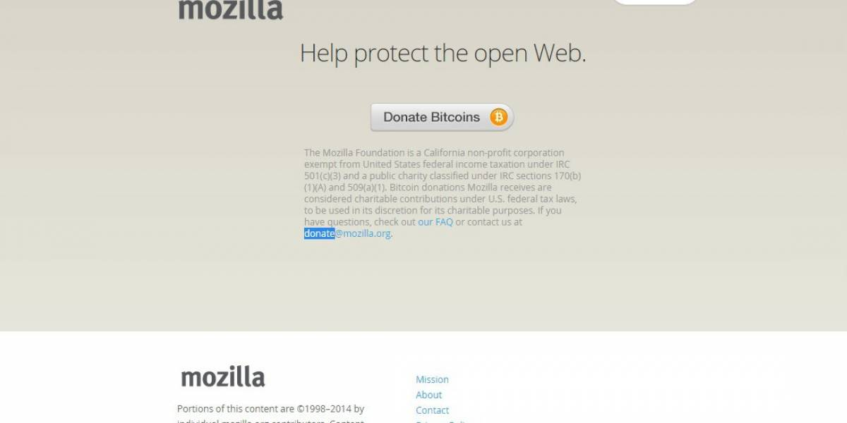 Mozilla ahora acepta donaciones en Bitcoin vía Coinbase