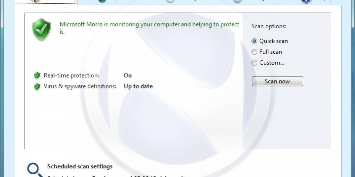 Se filtran pantallazos del Antivirus Morro de Microsoft