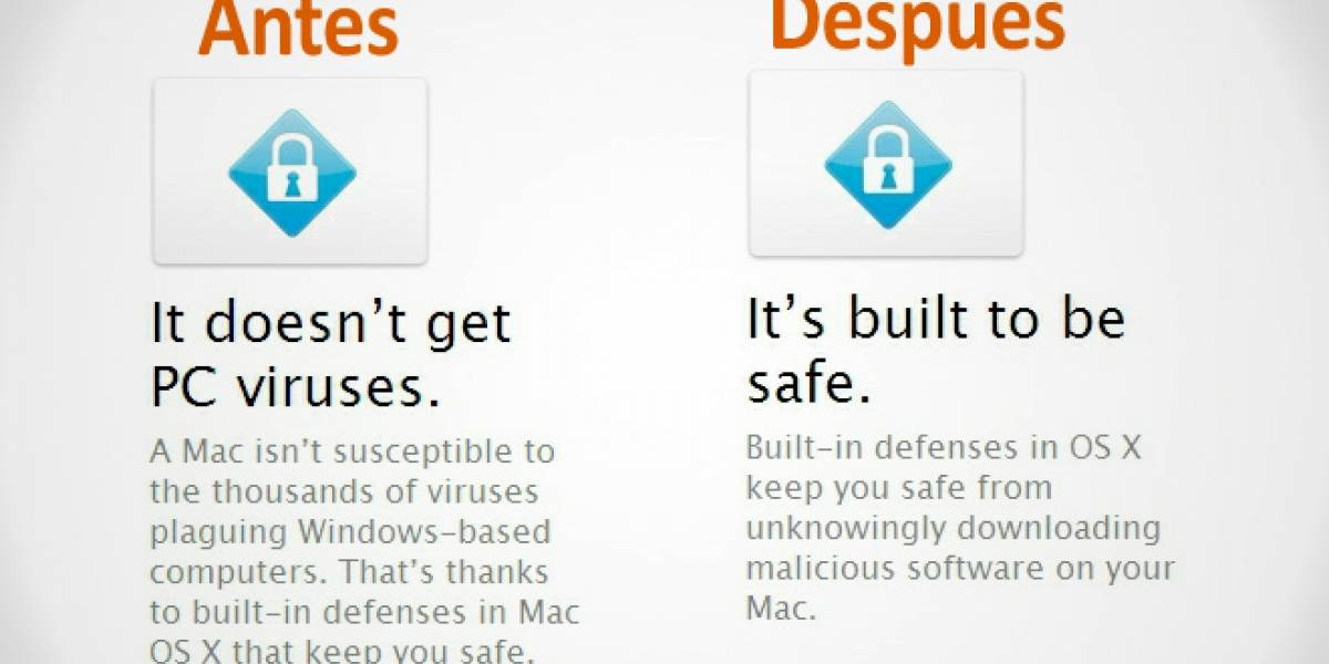 Apple deja de alardear que no tiene virus