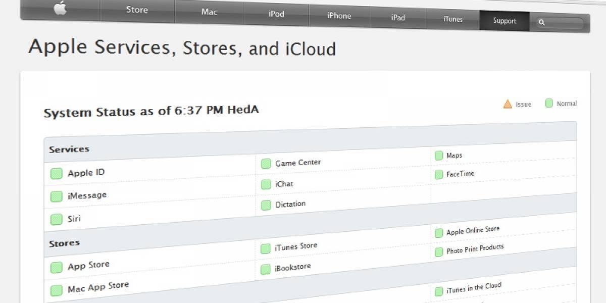Apple lanza página que detalla el estado de sus servicios