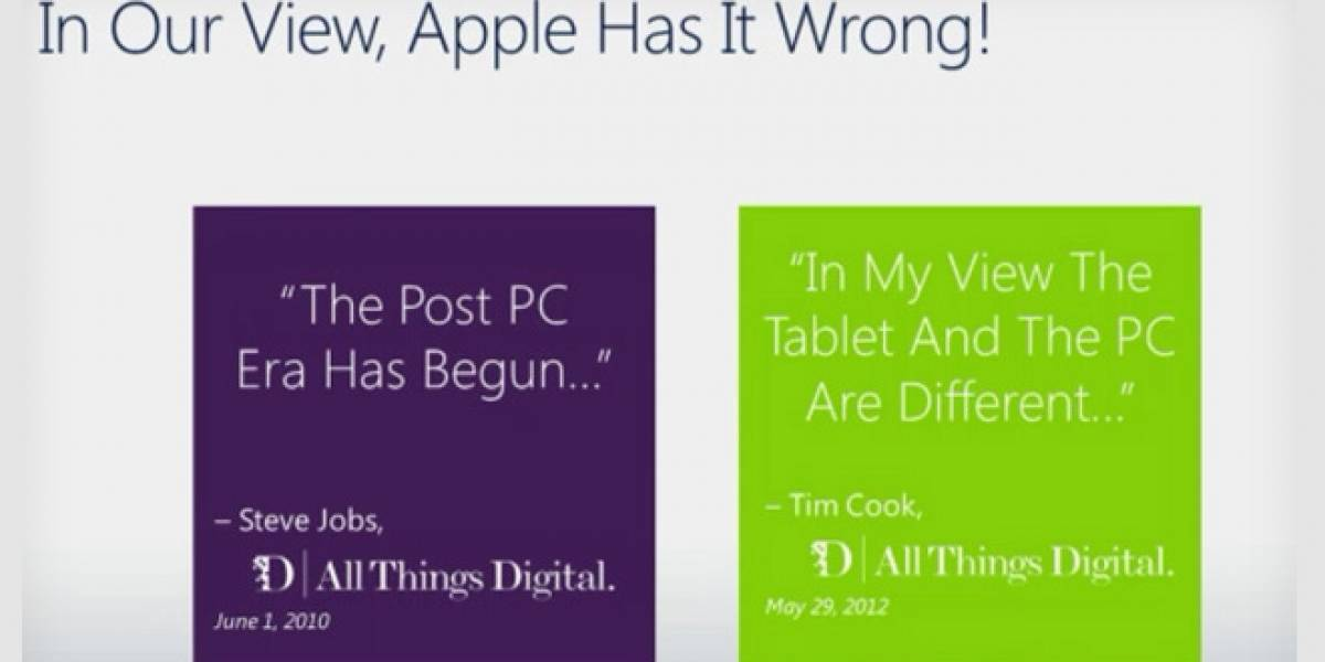 "Microsoft: Esta no es la ""era post-PC"" como dice Apple, es del ""PC+"""